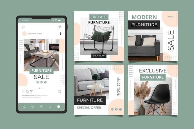 Organic flat furniture sale instagram post collection