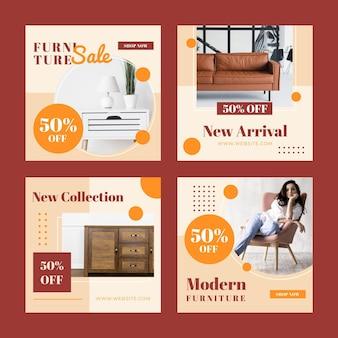 Raccolta di post instagram vendita di mobili piatti organici