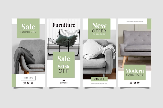 Organic flat furniture sale instagram story collection