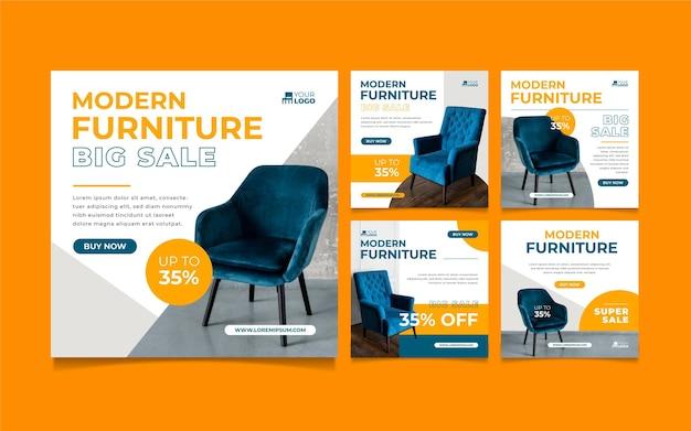 Набор историй instagram продажи органической плоской мебели