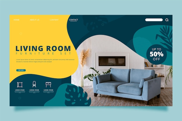 Pagina di destinazione della vendita di mobili piatti organici con foto