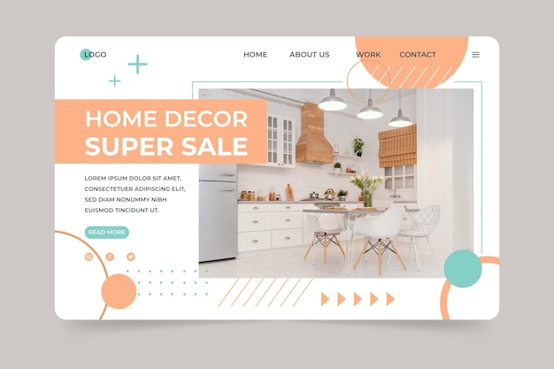Organic flat furniture sale landing page with photo
