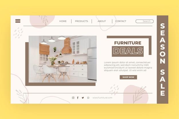 Organic flat furniture sale landing page with photo