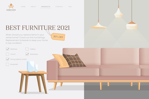 Organic flat furniture sale landing page