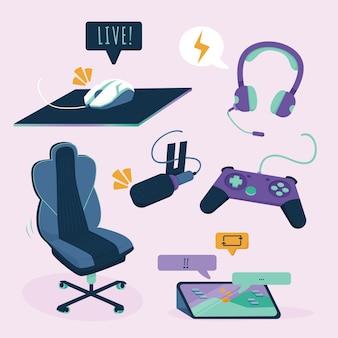 Raccolta di elementi di concetto di streamer di gioco piatto organico