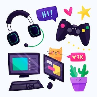 Raccolta di elementi di streamer di gioco piatto organico