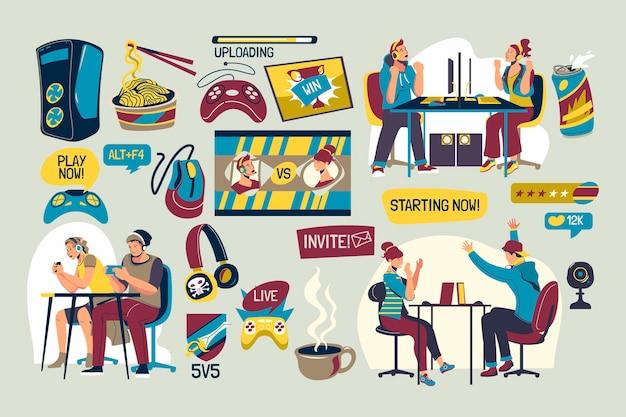 유기 평면 게임 스 트리머 요소 컬렉션