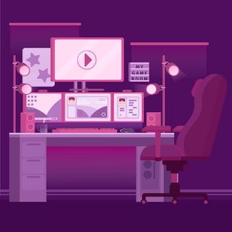 Organic flat gamer room illustrated