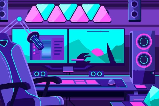 Organic flat gamer room illustration