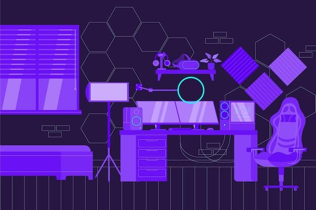 Органическая плоская иллюстрация игровой комнаты