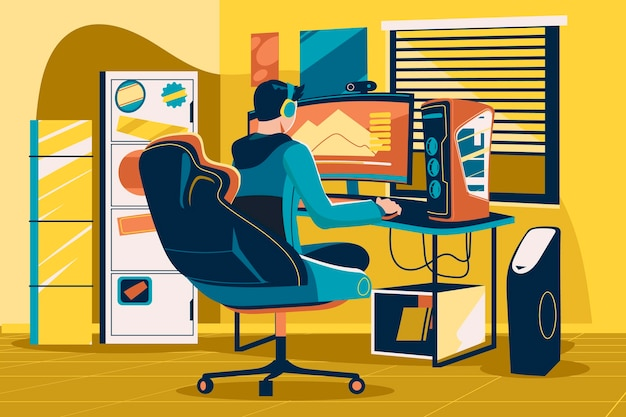 Illustrazione della stanza del giocatore piatto organico