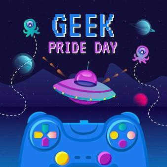 Органическая плоская иллюстрация дня гордости компьютерщика