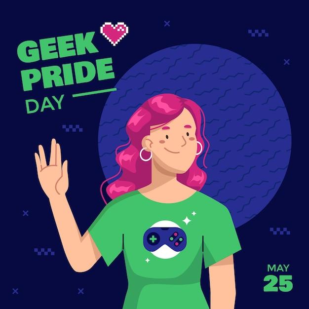 Organic flat geek pride day illustration
