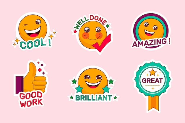 Organic flat good job and great job stickers set
