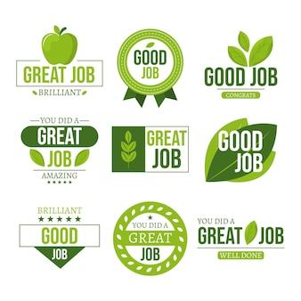 Набор органических плоских хороших наклеек