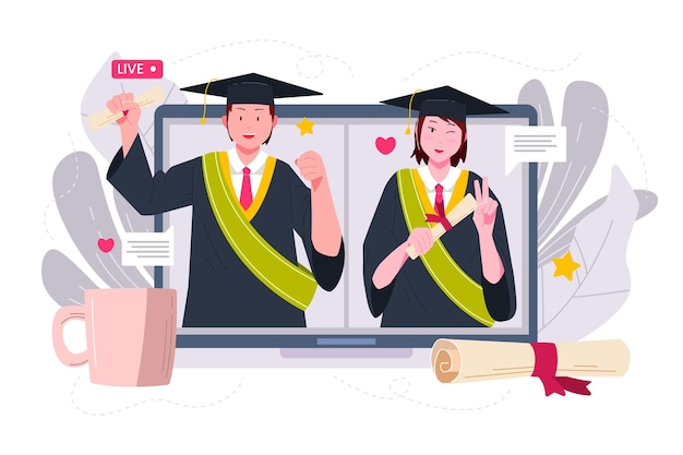 Organic flat graduation illustration