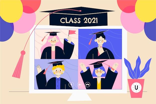 Organic flat graduation illustration