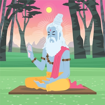 Organic flat guru purnima illustration