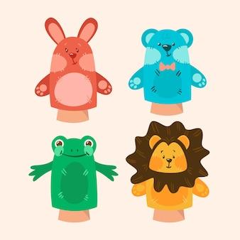 유기 편평한 손 인형 컬렉션
