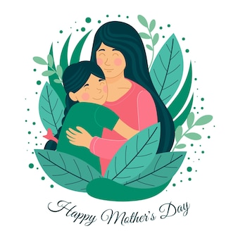 Organic flat happy mother's day illustration