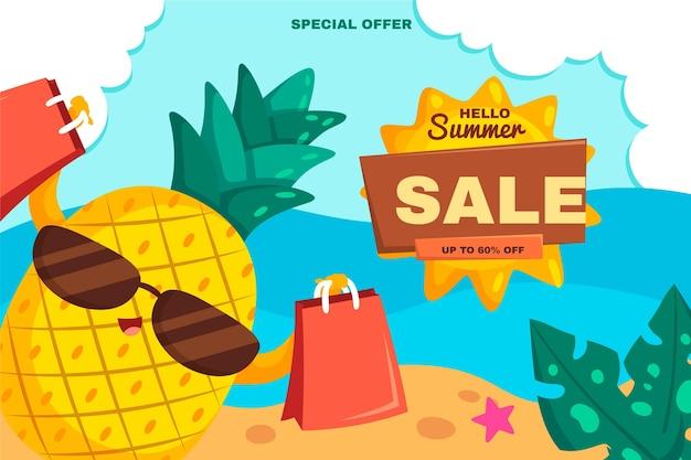 Organic flat hello summer sale background