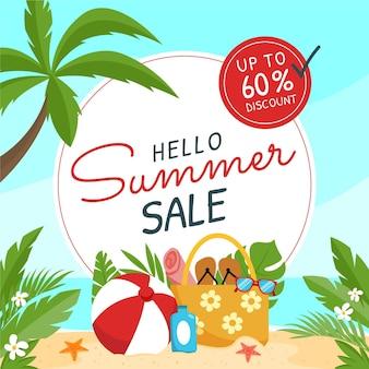 유기 평면 안녕하세요 여름 판매 그림