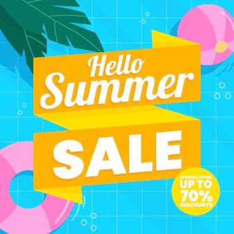 Organic flat hello summer sale illustration
