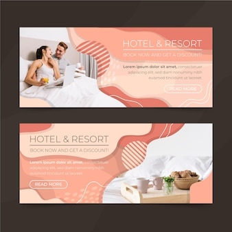 Modello di banner hotel piatto organico con foto