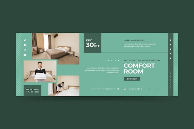 Organic flat hotel banner template with photo