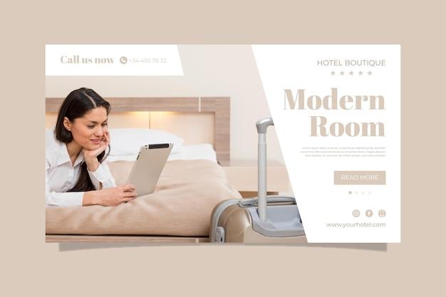 Banner di hotel piatto organico con foto Vettore gratuito