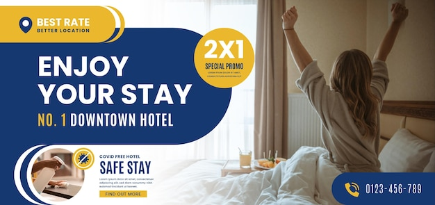 Organic flat hotel banner with photo