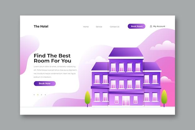 Organic flat hotel landing page illustrated