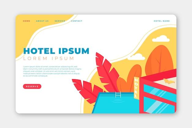 유기 평면 호텔 방문 페이지 템플릿