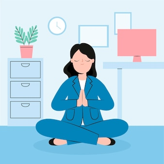 Organic flat illustration business woman meditating