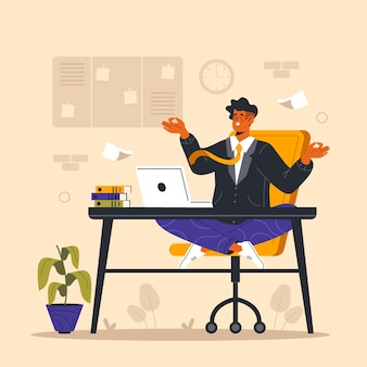 Органические плоские иллюстрации бизнесмен медитирует