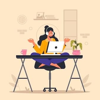 Органические плоские иллюстрации бизнесвумен медитируют