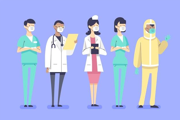 유기 평면 그림 의사와 간호사