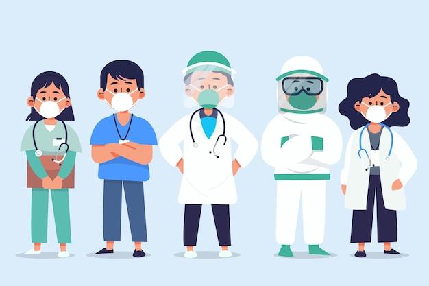 有機フラットイラスト医師と看護師
