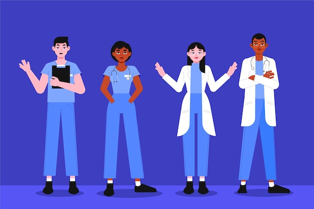 Organic flat illustration doctors and nurses