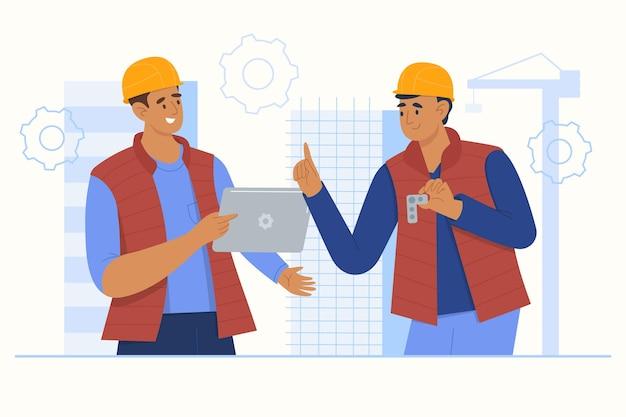 Инженеры по органической плоской иллюстрации, работающие над строительством
