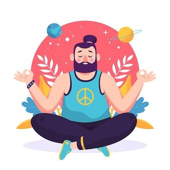 Uomo di illustrazione piatto organico meditando