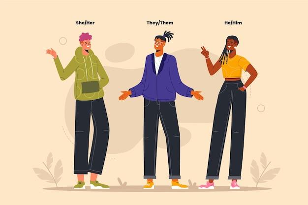 Organic flat illustration non binary people