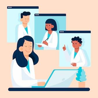 Органическая плоская иллюстрация онлайн-медицинская конференция
