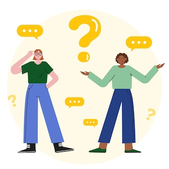 Organic flat illustration people asking questions