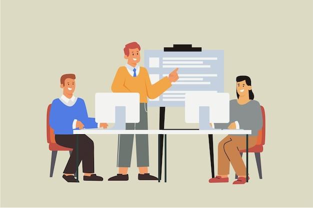 Органические плоские иллюстрации людей на бизнес-обучении