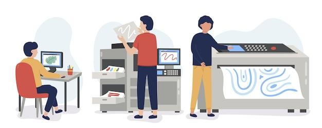 有機フラットイラスト印刷業界