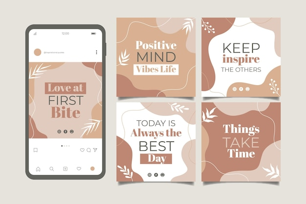 Organic flat inspirational quotes instagram post collection