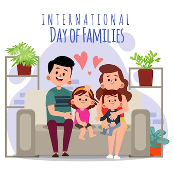 Organic flat international day of families illustration