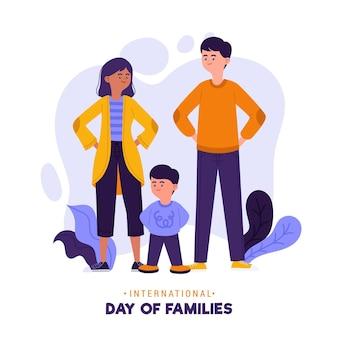 家族のイラストの有機フラット国際家族デー
