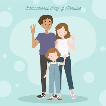 Органический плоский международный день семьи иллюстрация Бесплатные векторы